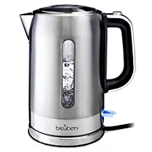 Brewberry Cordless Electric Kettle 1.7l, Stainless Steel Tea Kettle, Hot Water Pot w/ Auto Shut-Off Function and Boil-Dry Protection, For Office and Home Use, 1.7 Liter