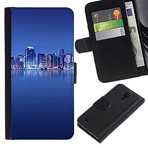 Ihec-Tech / Flip PU Cuero Cover Case para Samsung Galaxy S4 IV I9500 - The Blue City