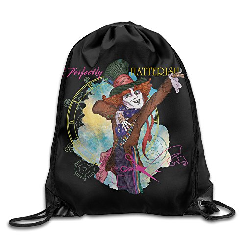 Johnny Depp As The Mad Hatter (Drawstring Backpack Sack Bag Platinum Alice And Mad Hatter Home Travel Sport Storage Hiking Running Bags)
