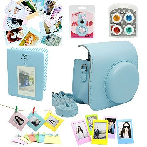 CLOVER Fujifilm Instax Mini 8 Instant Camera Accessory Bundles Set Case Bag/ Album/ Close-Up Lens / Wall Hanging Frame/ Photo Frame/ Sticker Borders - Blue (Mini Case Camera Bag)