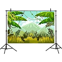 Allenjoy 7x5ft Polyester Backdrops Photography Background Green Forest Wall Safari Jungle Party Themed backdrop Children Birthday Party Baby Shower Background Banner Photo Booth Background