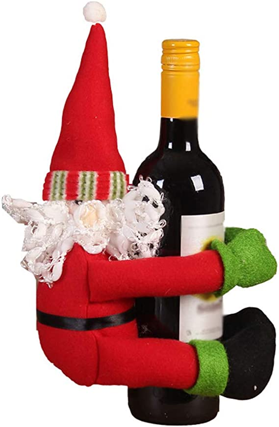 QTT Botella De Vino De Navidad Conjunto Decoración De Botella De ...