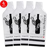 Becool 4 Pack Reusable Wine Bottle Protector Travel Bag~With Inner Skin and Leak Proof Exterior~Safe for Transportation & Gift Giving