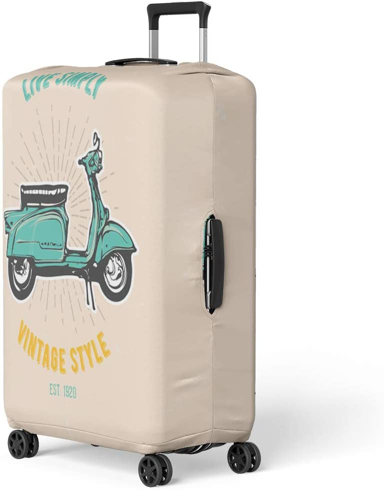 Pinbeam Luggage Cover Bike Vintage Retro Scooter Emblem Cartoon City Classic Travel Suitcase Cover Protector Baggage Case Fits 18-22 inches