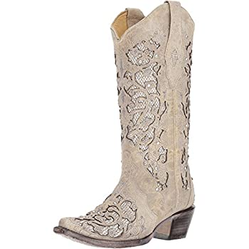 Image of Corral Women's White Glitter Inlay & Crystals White Cowgirl Boots Equestrian Sport Boots