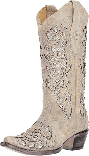 Corral Womens White Glitter Inlay & Crystals, Size: 9.5, Width: M (A3322-LD-M-9.5) ()
