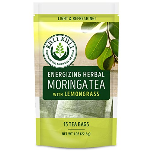Kuli Kuli Energizing Herbal Moringa Tea, Lemongrass, 15 Count, Caffeine-Free Tea with Antioxidants, No Artificial Flavors or Ingredients, Light and Refreshing ()