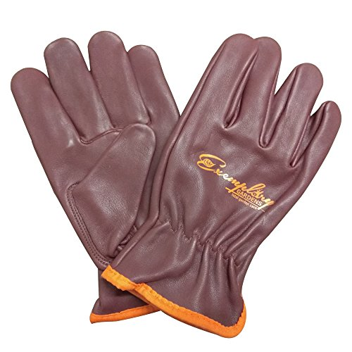 Heavy Duty Goatskin Leather Work Gloves for Men and Women. General Purpose Utility, Driver, Rigger, Safety, and Gardening Gloves (Small, Maroon)