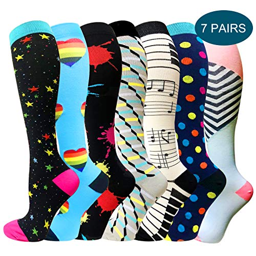 (1/3/6 Pairs Compression Socks for Women&Men (20-30mmHg) -Best for Running, Travel,Cycling,Pregnant,Nurse, Edema (Large/X-Large, Multicoloured 28))