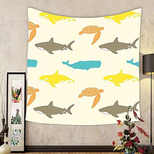 Gzhihine Custom tapestry Sea Animals Decor Tapestry Pattern with Sharks Swimming to Different Directions Monochromic for Bedroom Living Room Dorm 60 W X 40 - To Directions Outlets Palm Beach