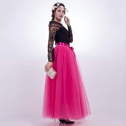 QYYDBSQ 7 Capas 100 cm Faldas Largas de Tul para Mujer Falda ...
