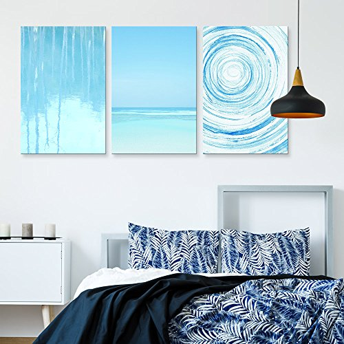 3 Panel Light Blue Trees Relection in Water and Seascape and Abstract Circles Gallery x 3 Panels