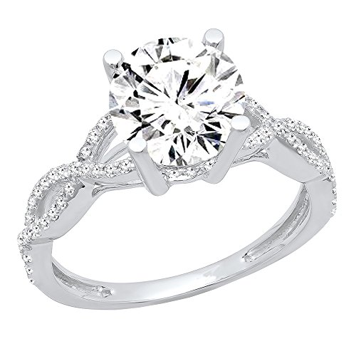 (Dazzlingrock Collection GIA Certified 1.75 Carat (ctw) 14K Round Diamond Promise Engagement Ring, White Gold, Size 6)