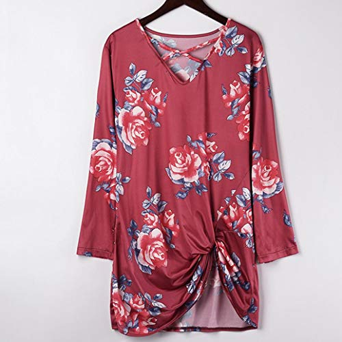AIMEE7 Rouge Tops Manche Casual Shirt Cross Casual Sweat Imprimer Floral Shirt Longue Femme T rxqwBa4r