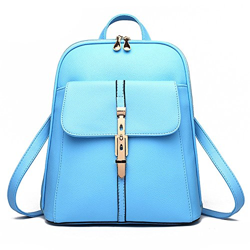 Wewod Mochila Escolar Niña de Moda Mochila de PU Cuero Bolsas Colegio Casual Mochila de Viaje Para Mujer 28 x 33 x 13 cm (L X H x W ) Azul