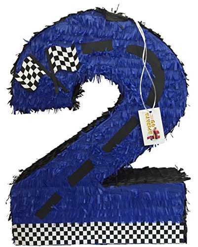 "Blue Race Car Theme Number Two Pinata 24"" Tall"