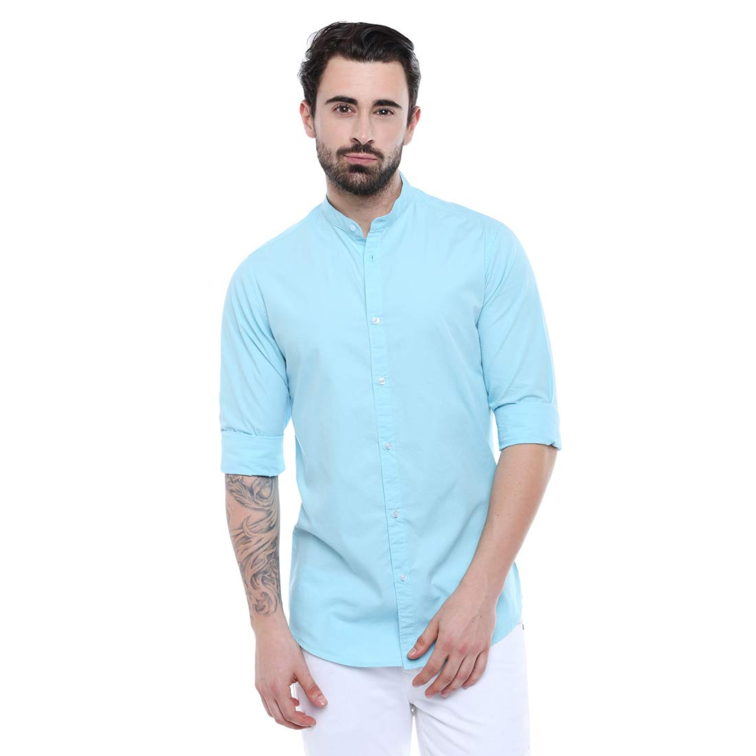 Dennis Lingo Men's Solid Chinese Collar Tblue Casual Shirt