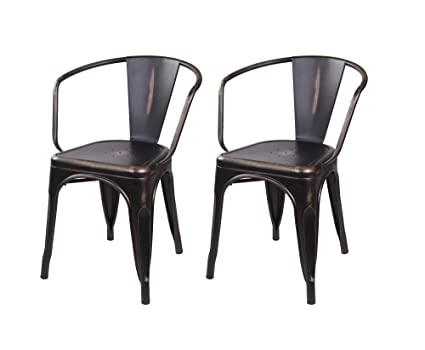 Prime Gia Metal Dining Chairs With Back Set Of 2 Antique Vintage Bronze Tolix Style Loft Appearance Ready To Use Weight Capacity 300 Pounds Theyellowbook Wood Chair Design Ideas Theyellowbookinfo