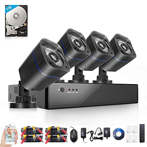 ELECCTV 4CH Home Security Camera System DVR Recorder with 4X HD 720P Indoor Outdoor Weatherproof CCTV Cameras, IR Night Vision with 1TB Hard Drive Motion Alert, Smartphone, PC Remote Access