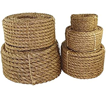 """SGT KNOTS Twisted Manila Rope 1/4"""", 5/16"""", 3/8"""", 1/2"""", 5/8"""", 3/4"""", 1"""", 1.25"""", 1.5"""", 2"""", 3"""" x Several Lengths (1/2""""x50')"""