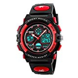 Kid's Digital Watch LED Outdoor Sports 50M Waterproof Watches Boys Girls Children's Analog Quartz Wristwatch with Alarm Watch - Black Red