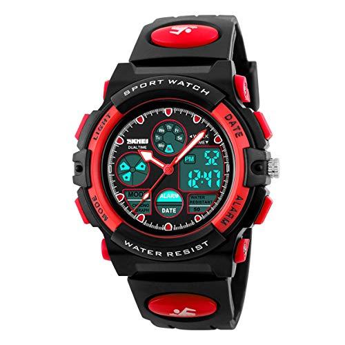 Kid's Digital Watch LED Outdoor Sports 50M Waterproof Watches Boys Girls Children's Analog Quartz Wristwatch with Alarm Watch - Black Red