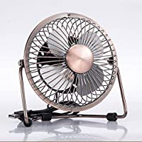 YANNI 4 Inch USB Mini Fan Metal Small Fan Creative Aluminum Leaf Radiator Fan Desk Fan For Home Office
