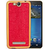Casotec Electroplated Edge Chrome TPU Leather Back Case Cover for Micromax Canvas Juice 3 Q392 - Red