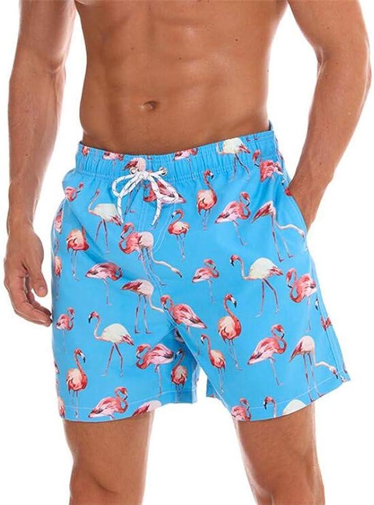 ZWEILI Summer Mens Surfing Shorts Seaside Vacation Beach Swim Trunks Blue,X-Large