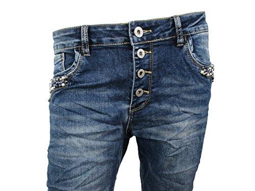 Perlen Strass Boyfriend Damen Stretch Jeans Knopfleiste Große Größen (2XL-44, Denim)