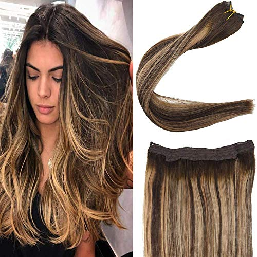 You Shine Hidden Crown on Secret Miracle Wire Hair Extensions 14inch one Piece Headbands for Women Halo Extension with Invisible Fishing Wire Balayage Extension