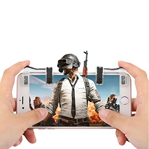 Mobile Game Controller, Shoot and Aim Triggers for PUBG/Knives Out/Rules of Survival, L1R1 Mobile Game Trigger Joystick Gamepad, PUBG Mobile Controller for Android IOS