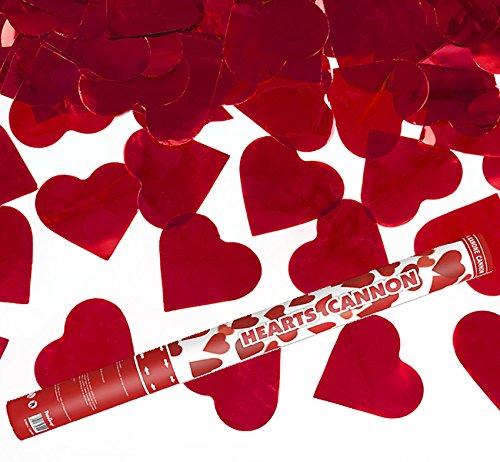 4x XXL Herzregen Hochzeit mit roten Folienherzen - 60 cm - Konfettikanone - ®Kleenes Traumhandel - Verlobung Hochzeit