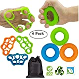 KINGSOO Hand Grip Strengthener, Finger Stretcher,6 Pack Hand Bands Resistance with Free Bag,New Material Grip Strength Trainer for Arthritis Carpal Tunnel Exercise Guitar and Rock Climbing
