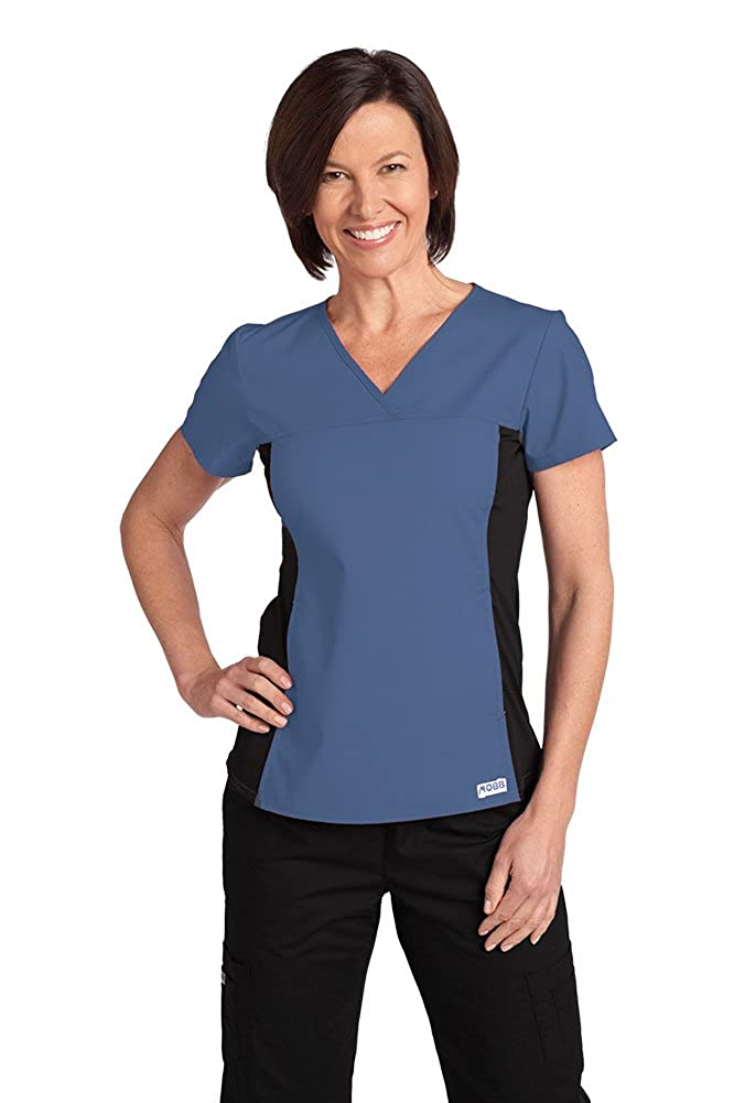 e52f9e477c5 Mobb Womens Medical Flexi Uniform Scrub Top with Black Stretch Side Panel  Postman Blue S: Amazon.ca: Clothing & Accessories