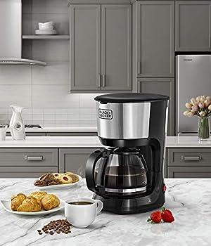 Black +Decker 750W 10 فناجين قهوة/آلة قهوة مع حاجز زجاجي للقهوة بالتقطير، فضي/أسود - DCM750S-B5، ضمان لمدة عامين