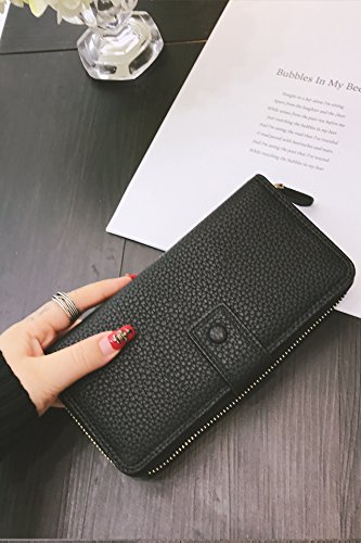 Simple Solid Zipper Hasp Design Ladies Wallets (Black) - 8