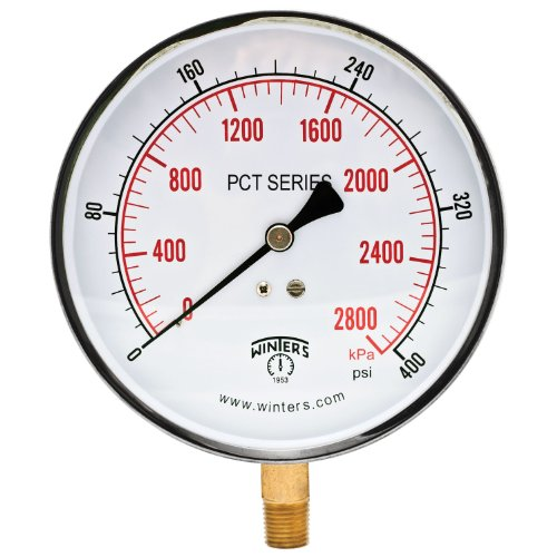 Winters PCT Series Stainless Steel 304 Dual Scale Contractor Pressure Gauge, 0-400 psi/kpa, 4-1/2