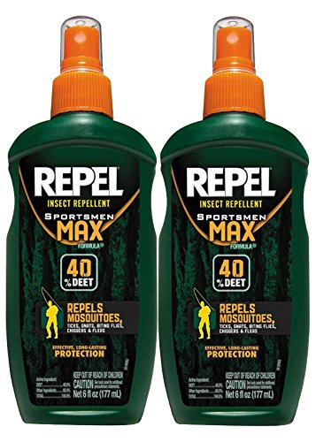 Mosquito Repellent By Repel Sportsmen Max | Best Deet Formula | Safely Repels Flying Insects Bugs Gnats Mosquitoes | Great For Any Outdoor Indoor Use | 12-Ounces Value Pack | Two 6-Ounce Spray Pumps