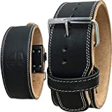 Steel Sweat Weight Lifting Belt - 4 Inches Wide by 10mm - Single Prong Powerlifting Belt That's Heavy Duty - Genuine Cowhide Leather - Small Texus
