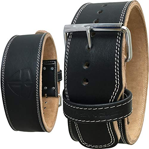 Steel Sweat Weight Lifting Belt - 4 Inches Wide by 10mm - Single Prong Powerlifting Belt That's Heavy Duty - Genuine Cowhide Leather - Large Texus (Powerlifting Belt Large)