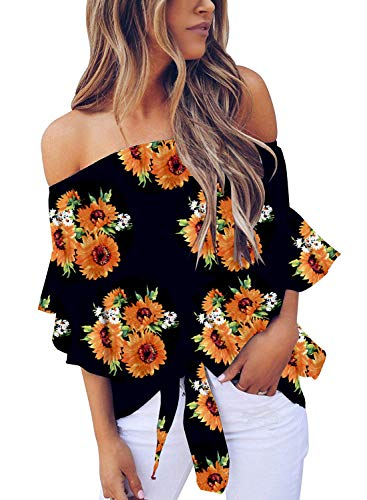 Uncinba Womens Off Shoulder Floral Tops Tie Front High Low Long Sleeve Chiffon Blouse T Shirts (XX-Large, 2-Yellow)