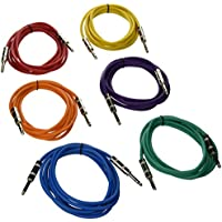Seismic Audio SATRX-10BGORYP  6 Pack of Multi Color 10 1/4TRS to 1/4 TRS Patch Cables