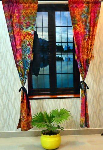 Sophia Art Esclusivo Indiano Ombre Mandala Arazzo Appeso da Parete Grande Hippie Tenda per finestra di Girasole Camera Pannello separatore 2 pz Set Cotone Finestra Trattamenti Multi