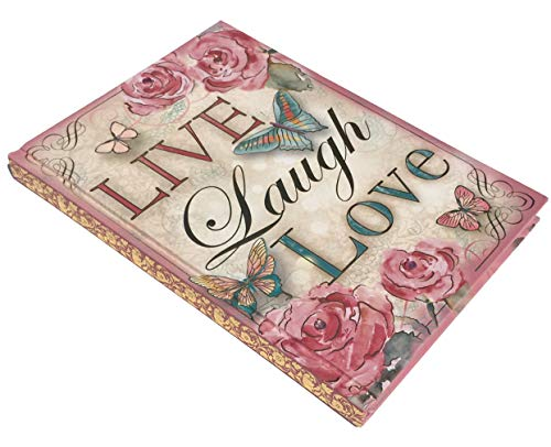 Pooch & Sweetheart Live Laugh Love Gold Foil Gem Embellished Butterfly Journal, Pink 77806