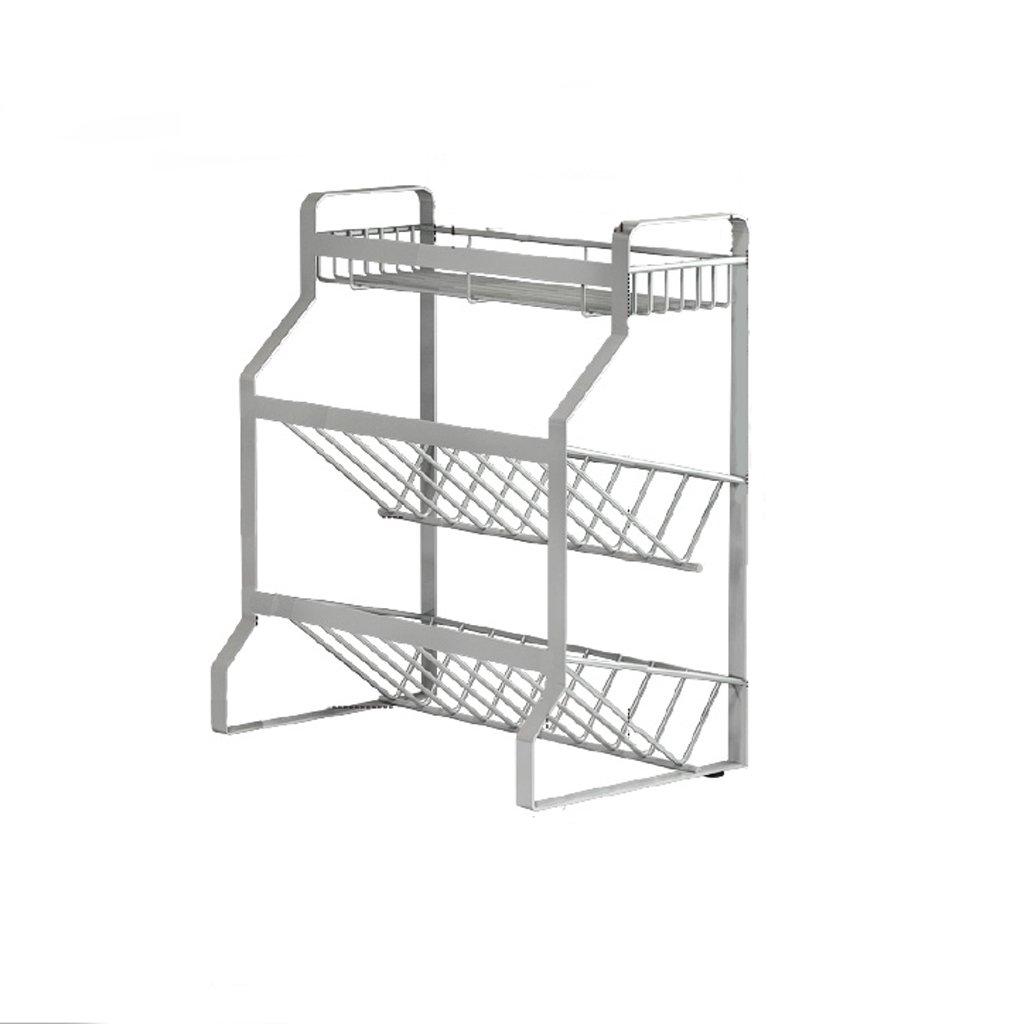 GAOYANG Rostfreier Stahl Küchenregal Küchenspeicherprodukte Bodenständig Platzsparend Lagerregal Gewürzregal (Farbe : Silber, Größe : Large)