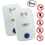 Everteco Ultrasonic Pest Repeller, Electronic Plug In Insect Repellent, Indoor Pest Control with Night Light for Cockroach, Rodents, Flies, Moquitos, Ants, Spiders, Fleas, Mice (Pack of 2)