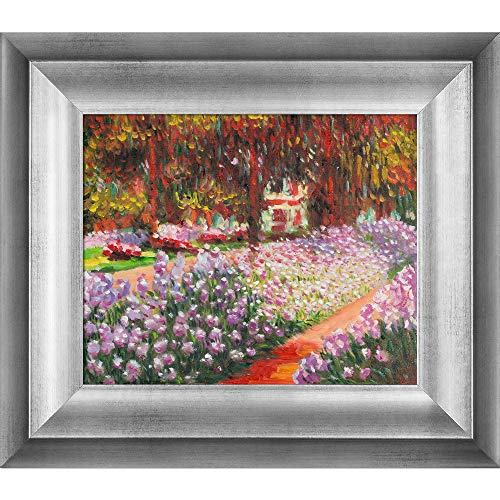 overstockArt Monet Artist's Garden at Giverny Artwork with Athenian Antique Silver Finish