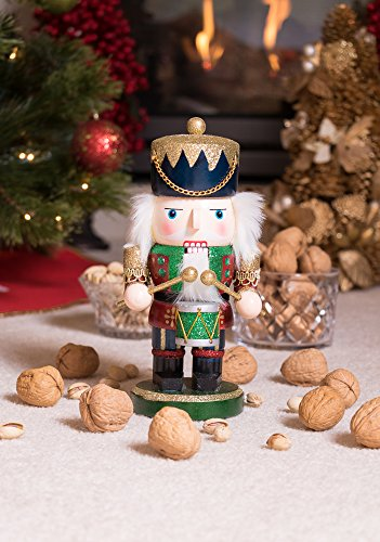 Red and Green Chubby Drummer Nutcracker by Clever Creations | Traditional Christmas Christmas Decor | 9'' Tall Perfect for Shelves and Tables | Must Have for Any Collection | 100% Wood by Clever Creations (Image #6)
