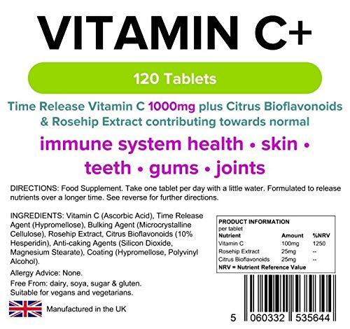 Lindens Vitamina C + 1000mg (Liberación Prolongada) Pastillas+bioflavoides+Escaramujo extracto 120 Pack apto para Veganos y VEGETARIANOS: Amazon.es: Salud y ...